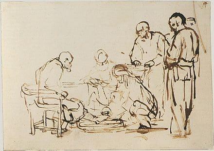 Dessin Lavement des pieds hommes assis debout Rembrandt