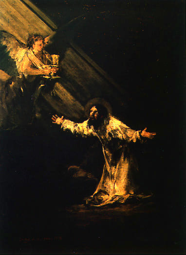 Christ Mont Oliviers ange rayon lumière poids Francisco Goya