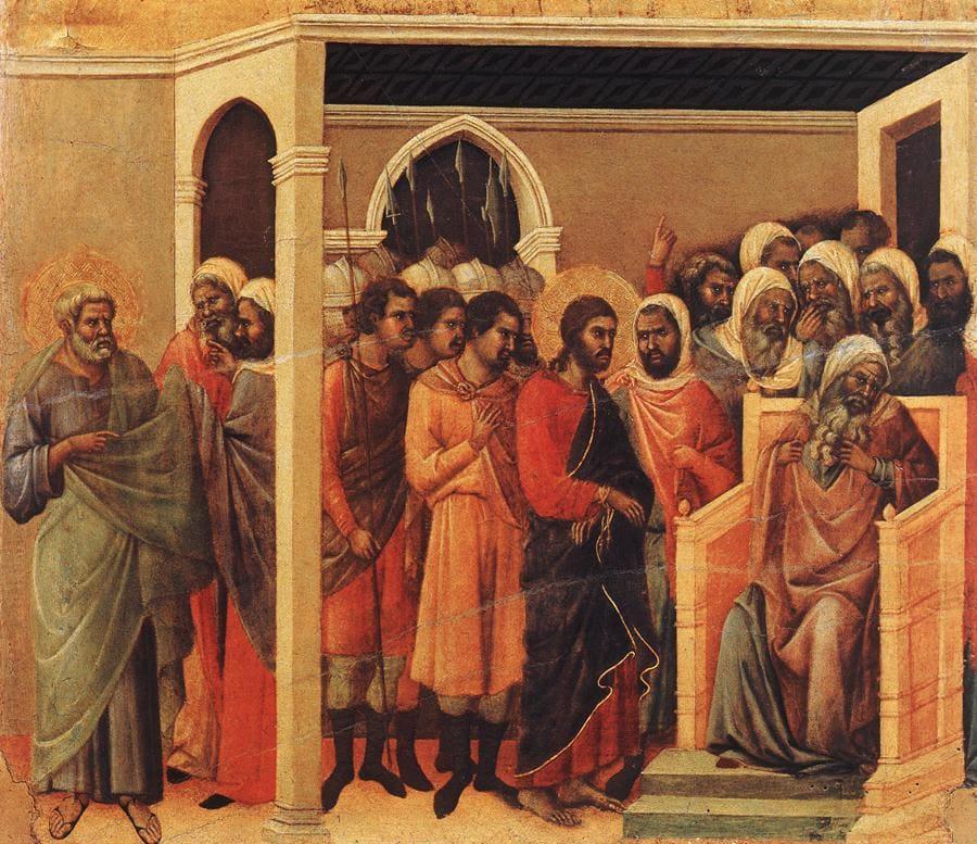 Jésus Caïphe grand prêtre foule accusations profils Duccio du Buninsegna