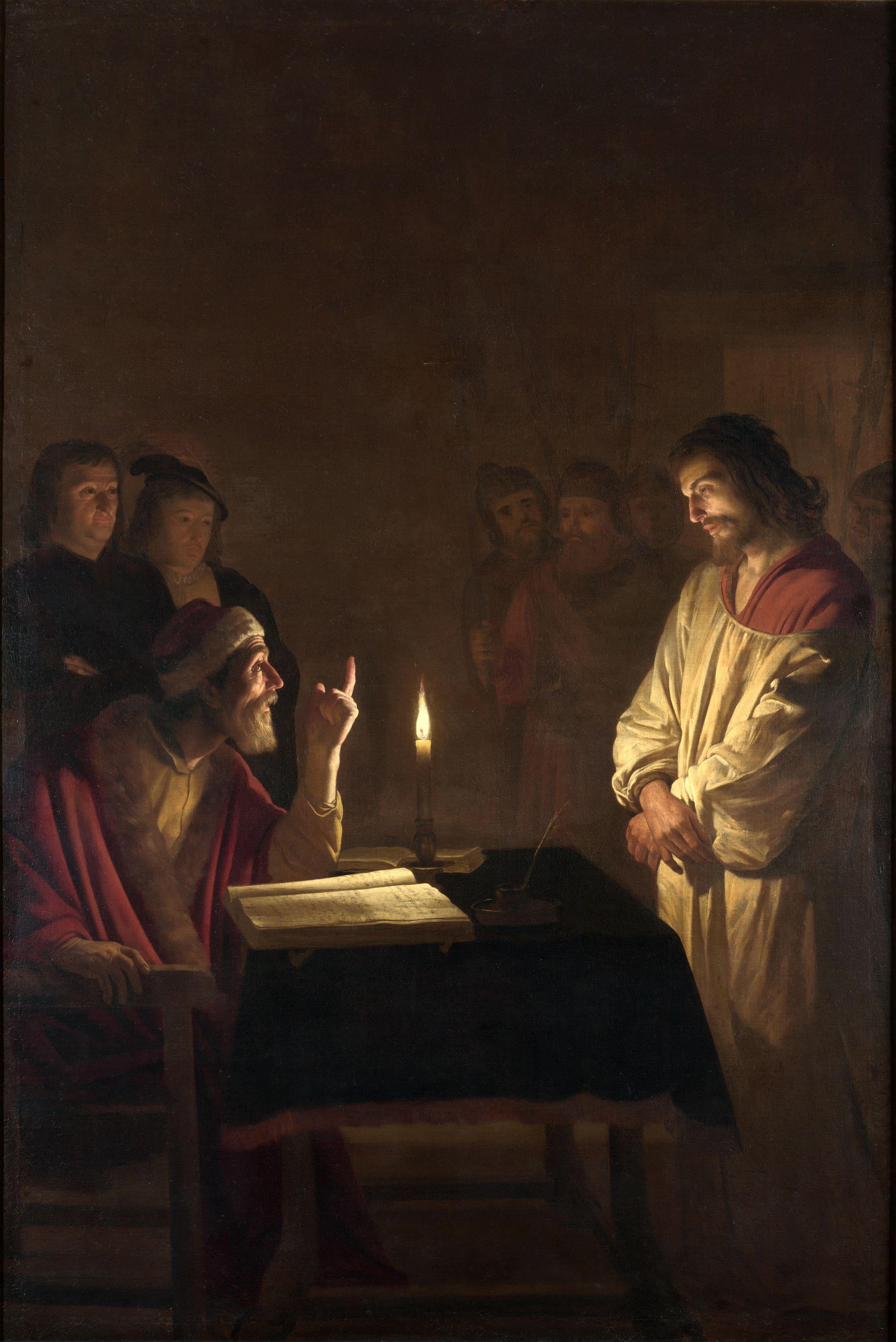 Christ grand prêtre doigt levé accusation lueur bougie Gerrit van Honthorst