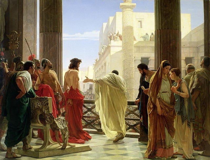 présentation Pilate Christ balcon palais drapés rouge couronne soldats foule Antonio Ciseri