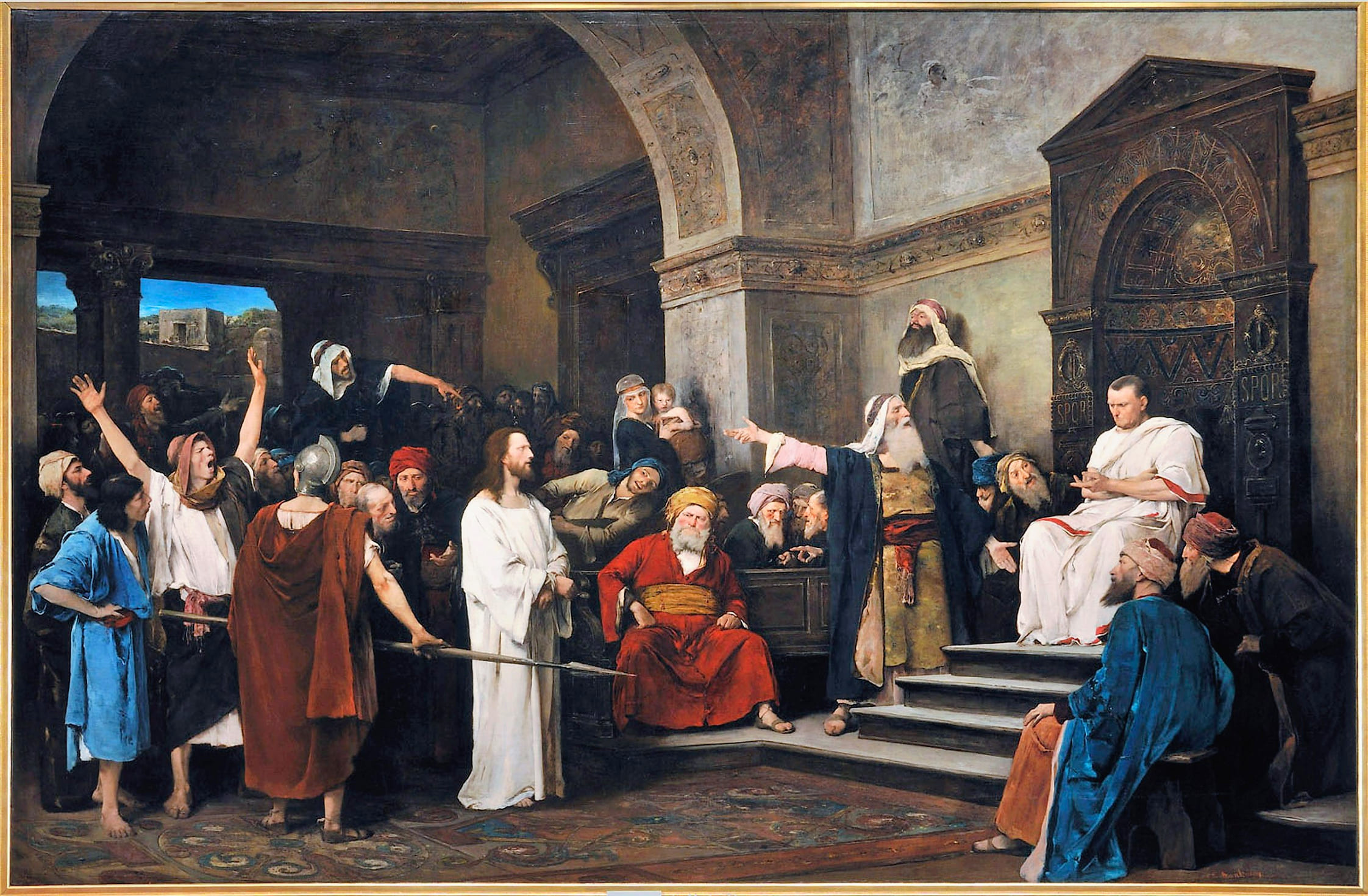 Christ Pilate soldats blanc rouge bleu salle  trône marches procès Mihály Munkácsy