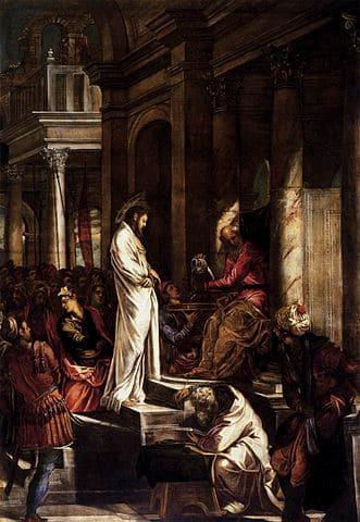 Procès Christ Pilate salle marches rouge blanc éblouissant Tintoret