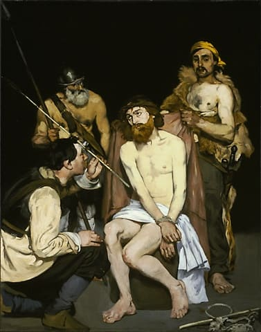 Jésus souffrance brutalité soldats bourreaux Manet
