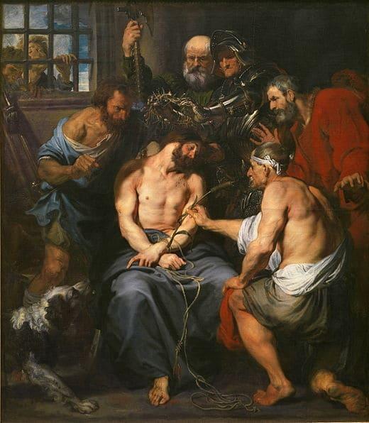 couronnement épines roseau spectre soldats violence souffrance moqueries Antoine Van Dyck