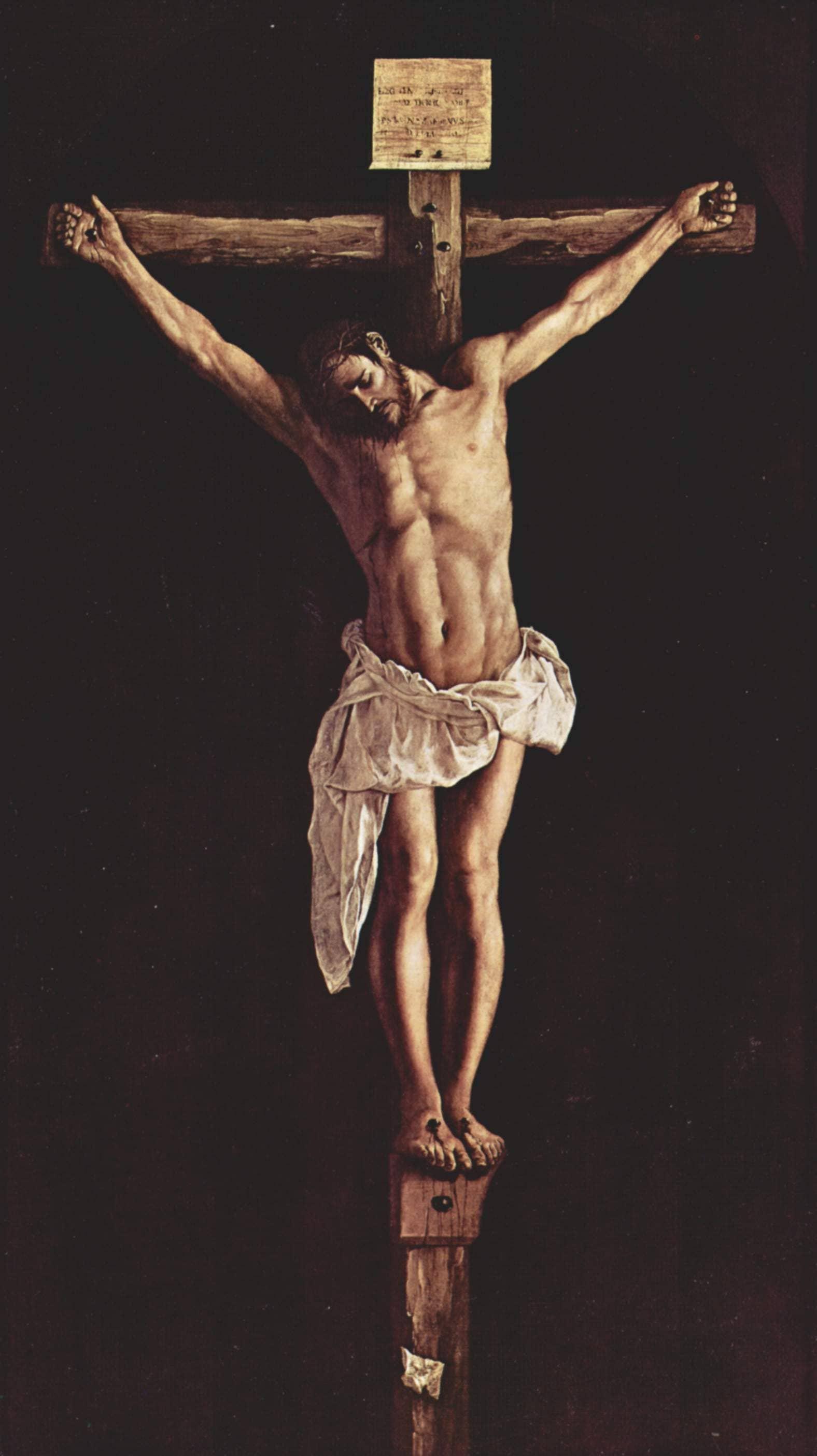 Christ croix couronne épines drapé mort Francisco de Zurbaran