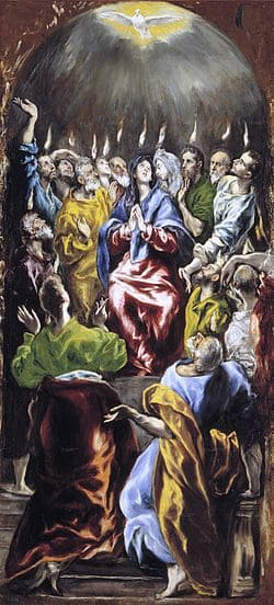 pentecôte lumière prière colombe apôtres flammes Le Greco