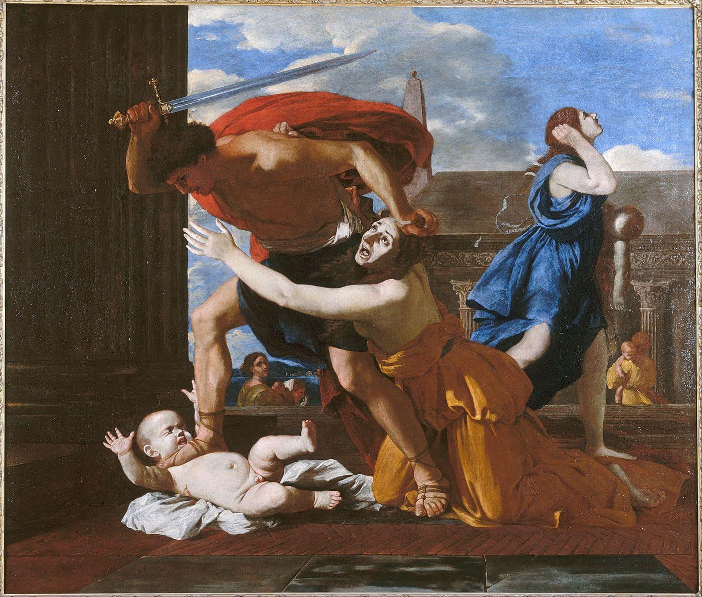 homme armé bébé femme cris Poussin