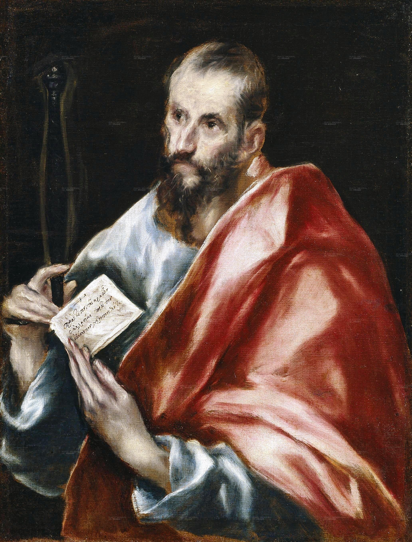 Saint Paul apôtre drapé rouge robe bleu homme barbe papier péché mort Le Greco