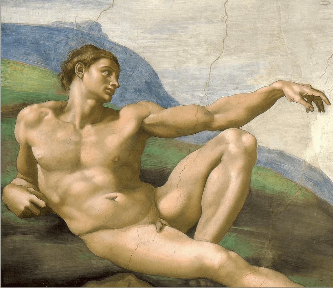 Adam homme assis nu bras tendu Michel-Ange