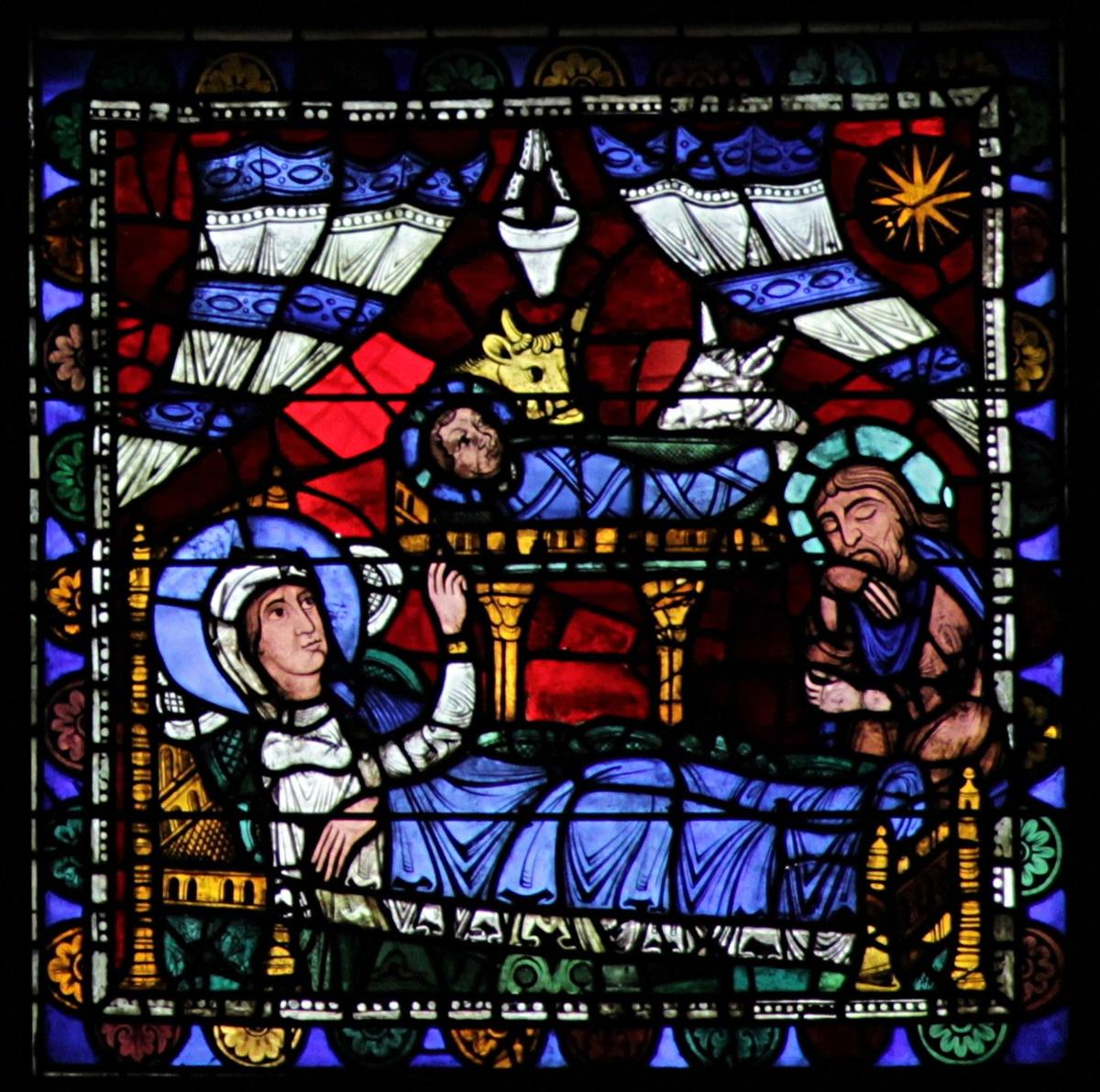 Marie Jesus Joseph vitrail Chartres bleu rouge blanc