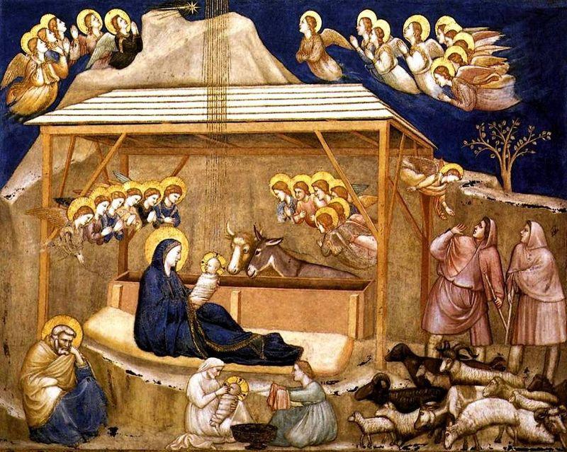 nativité marie anges creche bergers Giotto di Bondone