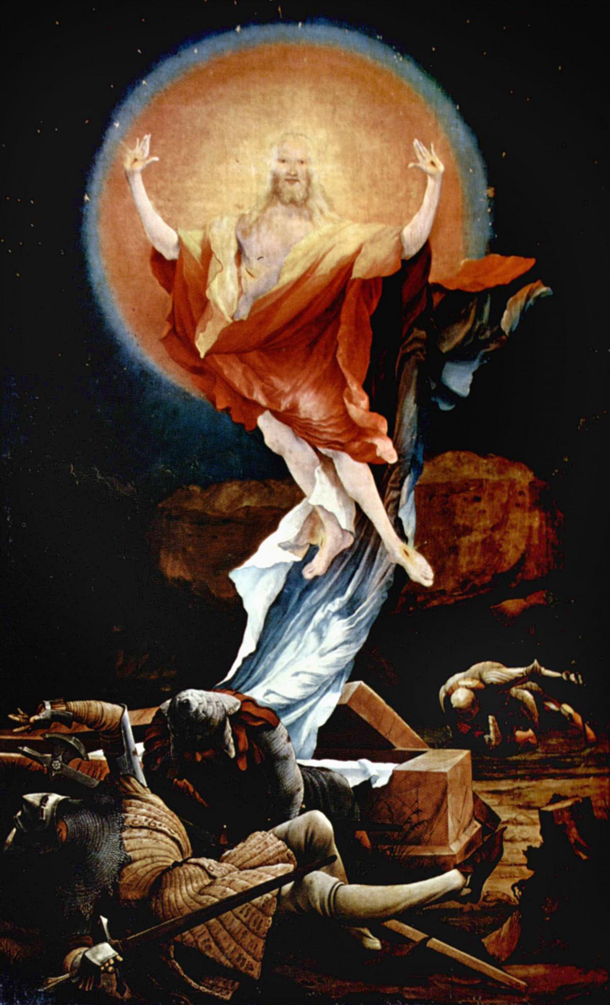 Jésus lune drapé rouge blanc roche