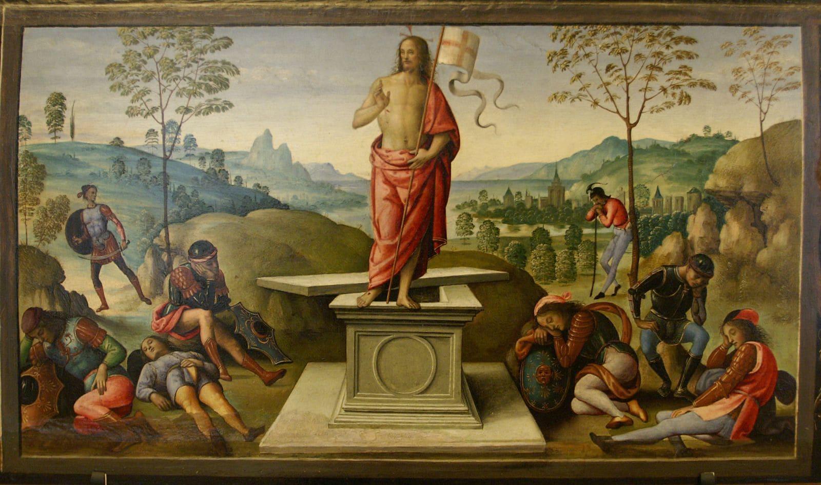 Résurrection Christ soldats endormis tombeau ouvert Le Pérugin