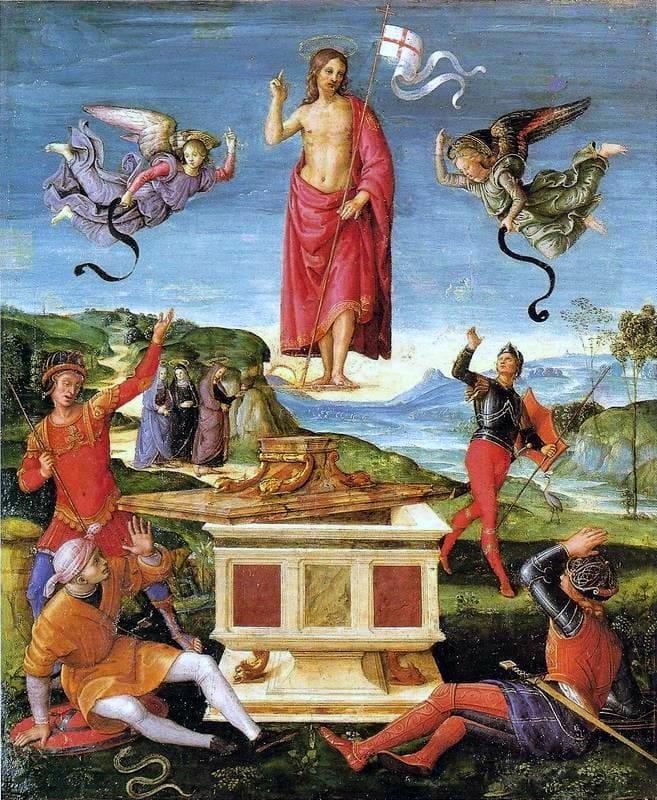 Résurrection Christ anges tombeau drapeau ouvert Raphaël