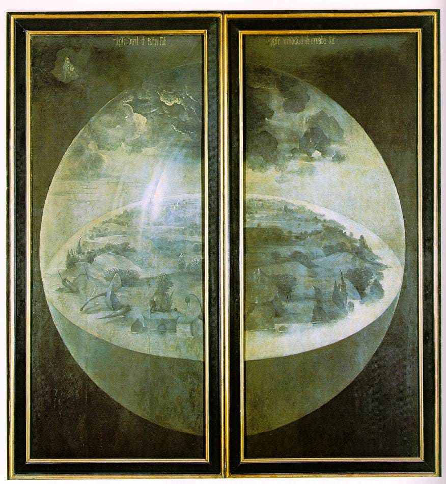 Création monde globe terre disque ciel Jérôme Bosch