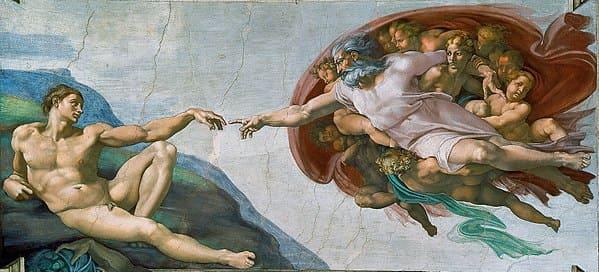 Création Adam Dieu homme nu doigt Dieu nuage anges Michel-Ange