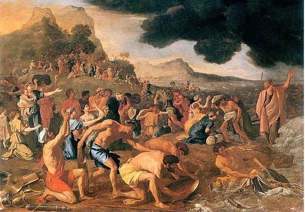Passage mer rouge Israélites foule fuite armée Nicolas Poussin