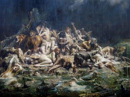 Le Déluge inondation gris mer cadavres Léon-François Comerre