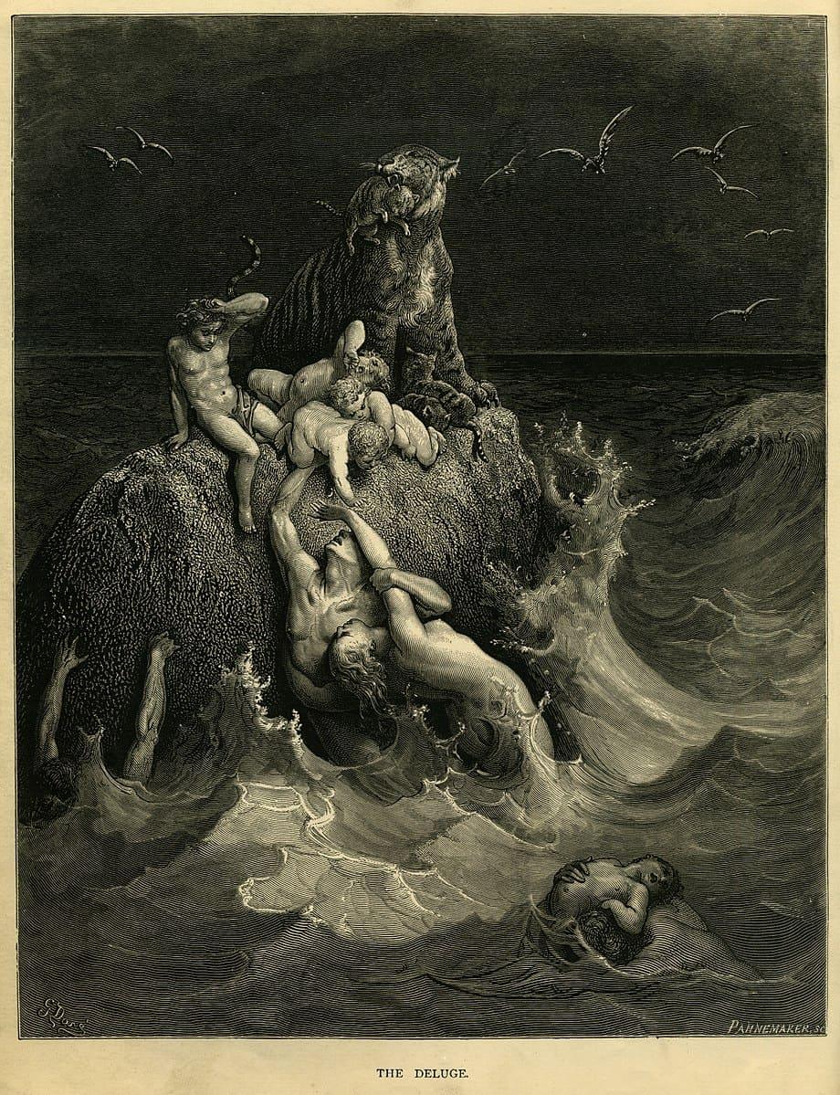 Le Déluge mer rocher tigre enfants adultes oiseaux mort Gustave Doré