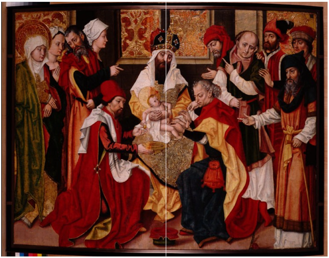 circoncision jésus Marie prêtre drapé rouge couronne