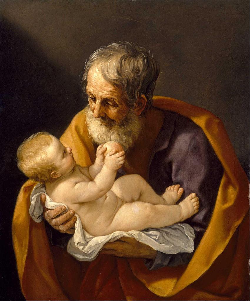 saint joseph jésus homme barbe mains bébé Guido Reni