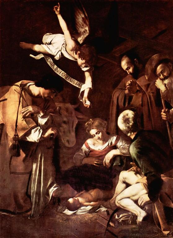 Nativité ange boeuf hommes marie jésus Le Caravage