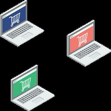 3 laptops showing different sales channels