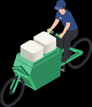 Man delivering packages on a cargo bike