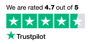 Graphic showing the 4.7 score Bezos.ai have on Trustpilot