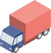 Graphic showing a delivery van