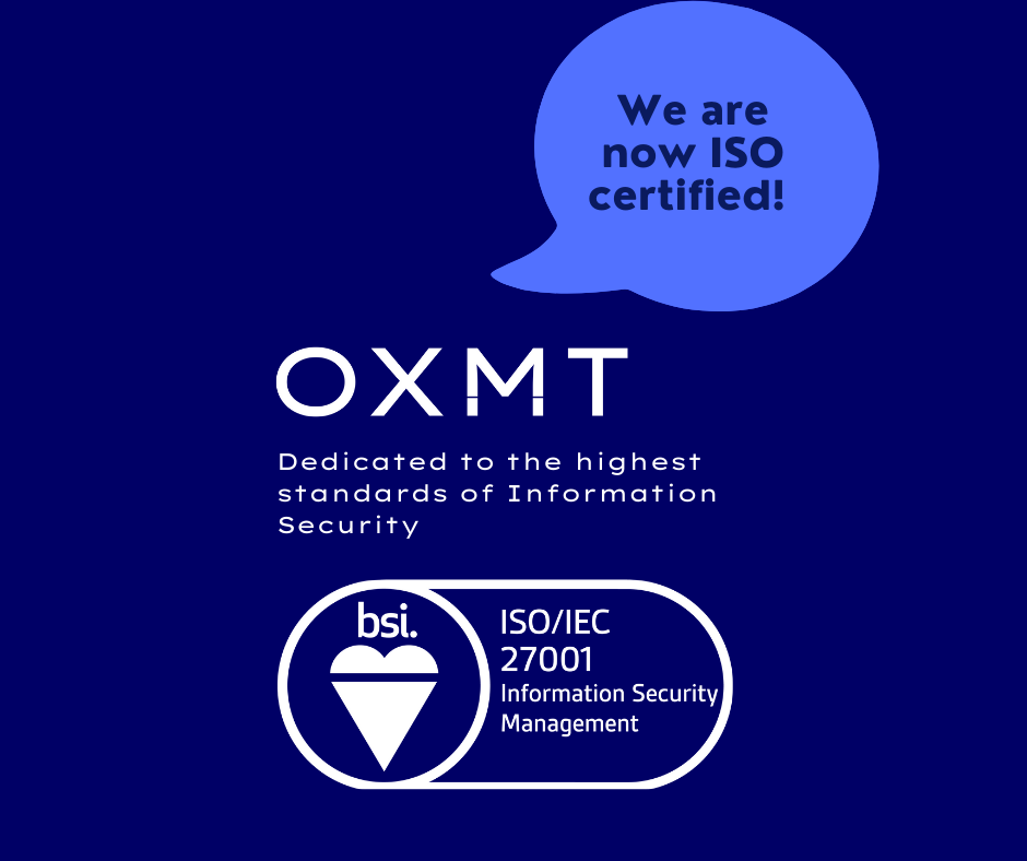 Ox Mountain is BSI certified with ISO 27001 Information Security Management Systems