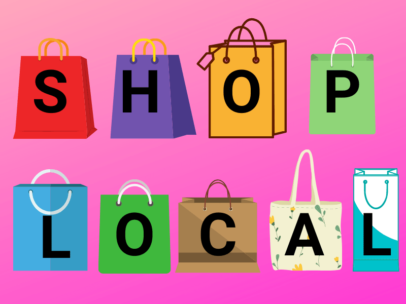 Shop Local pink advert
