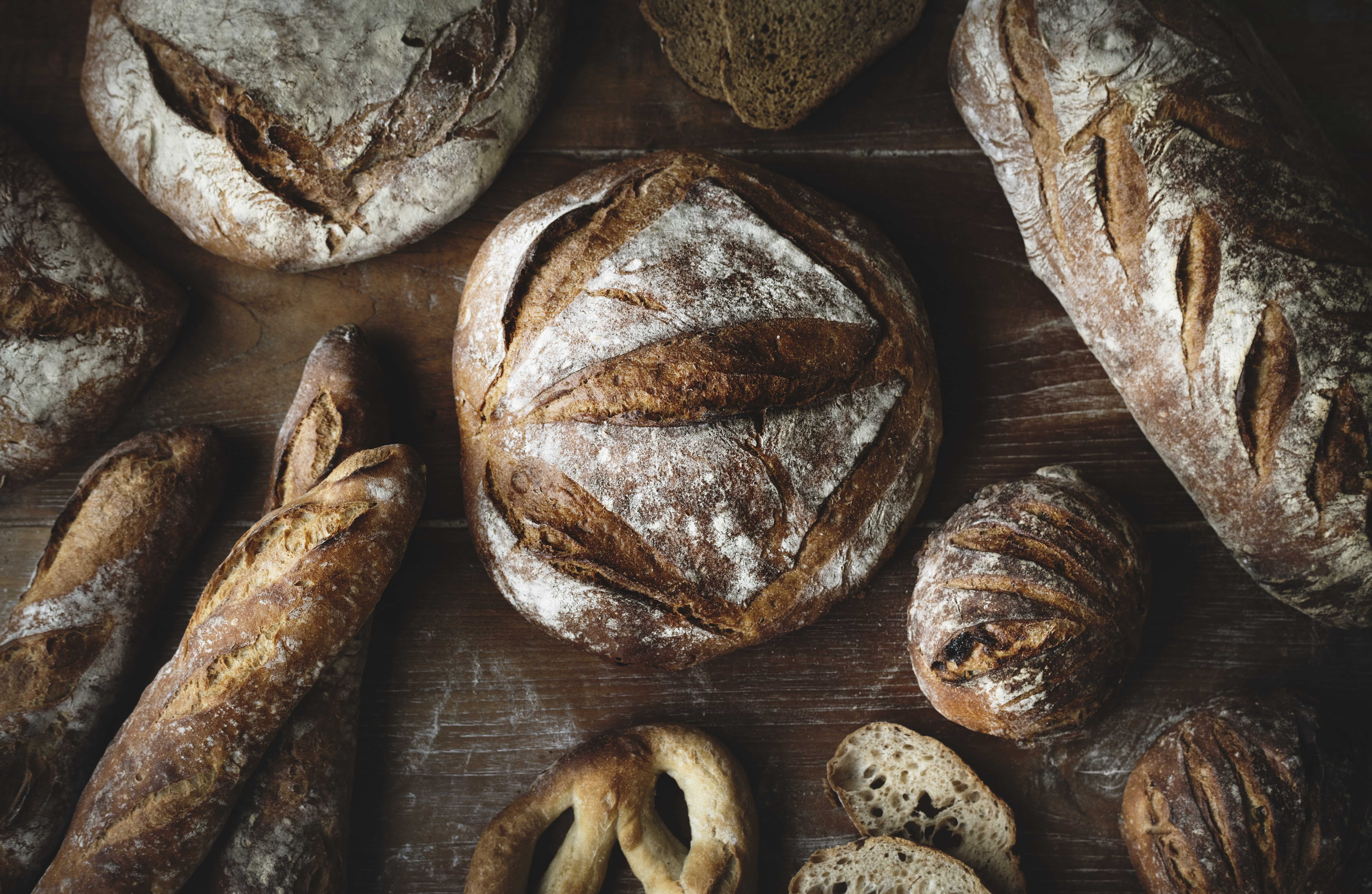 A variety of artisan bread on a table
