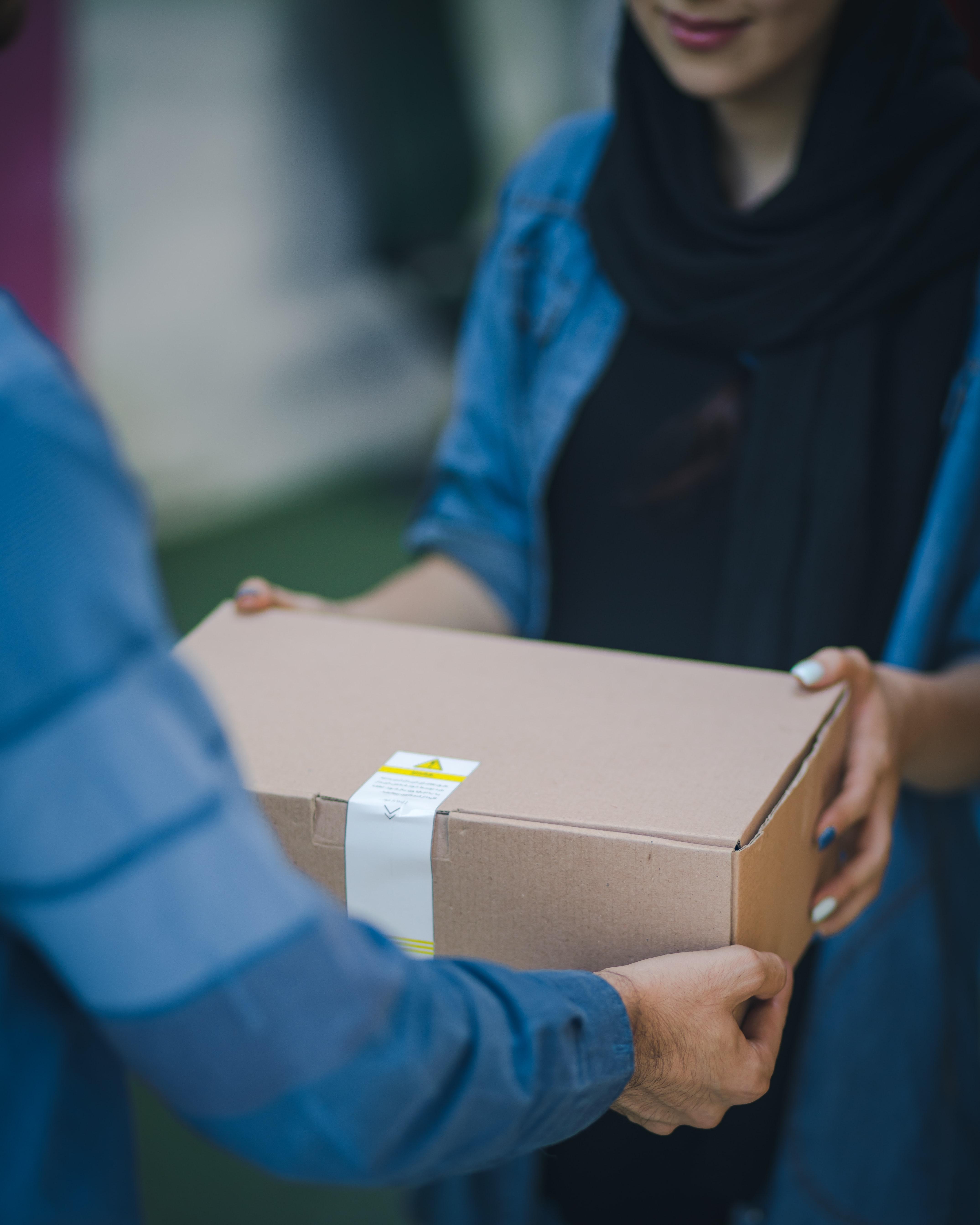 a person delivering bread