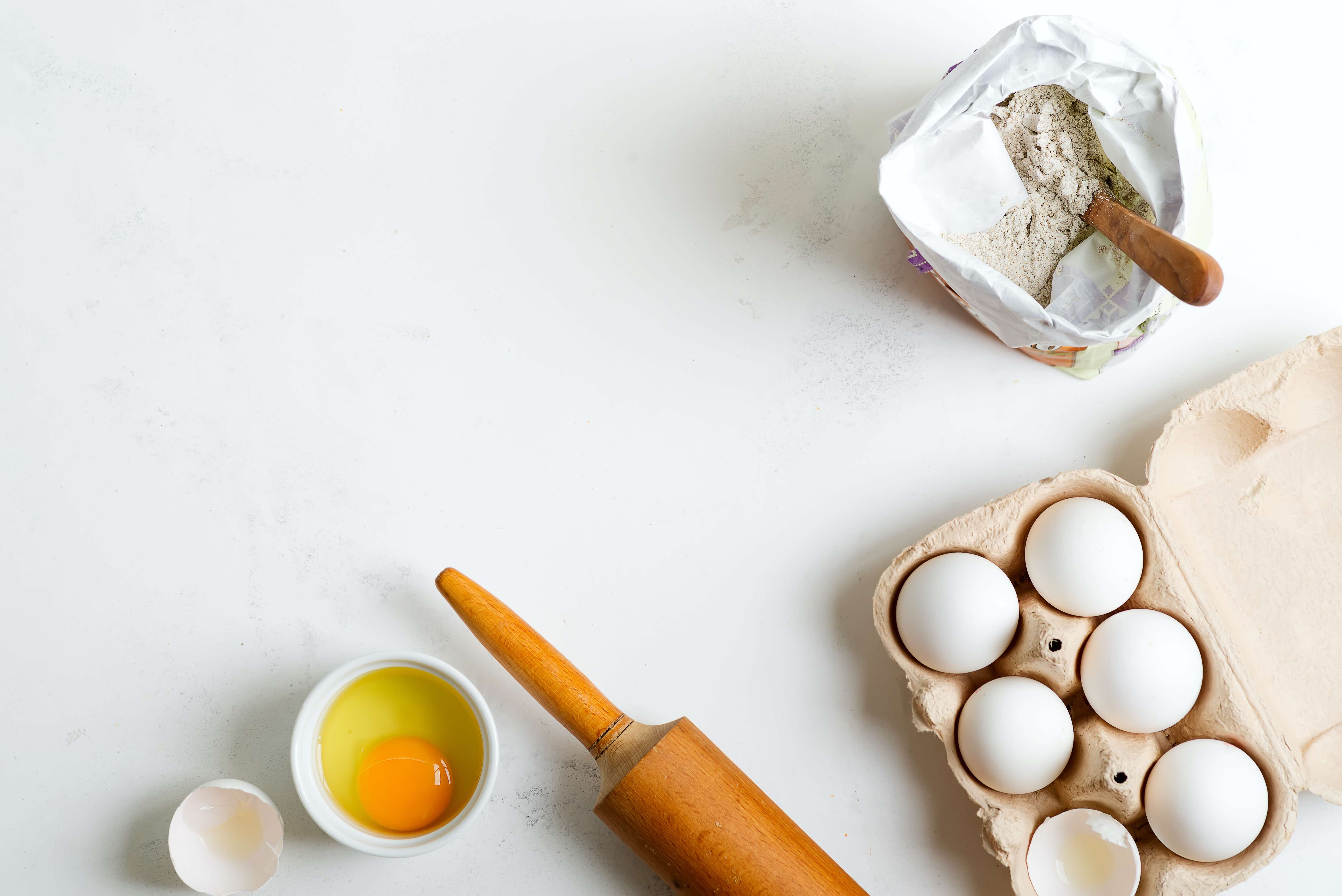 ingredients for making fresh bread