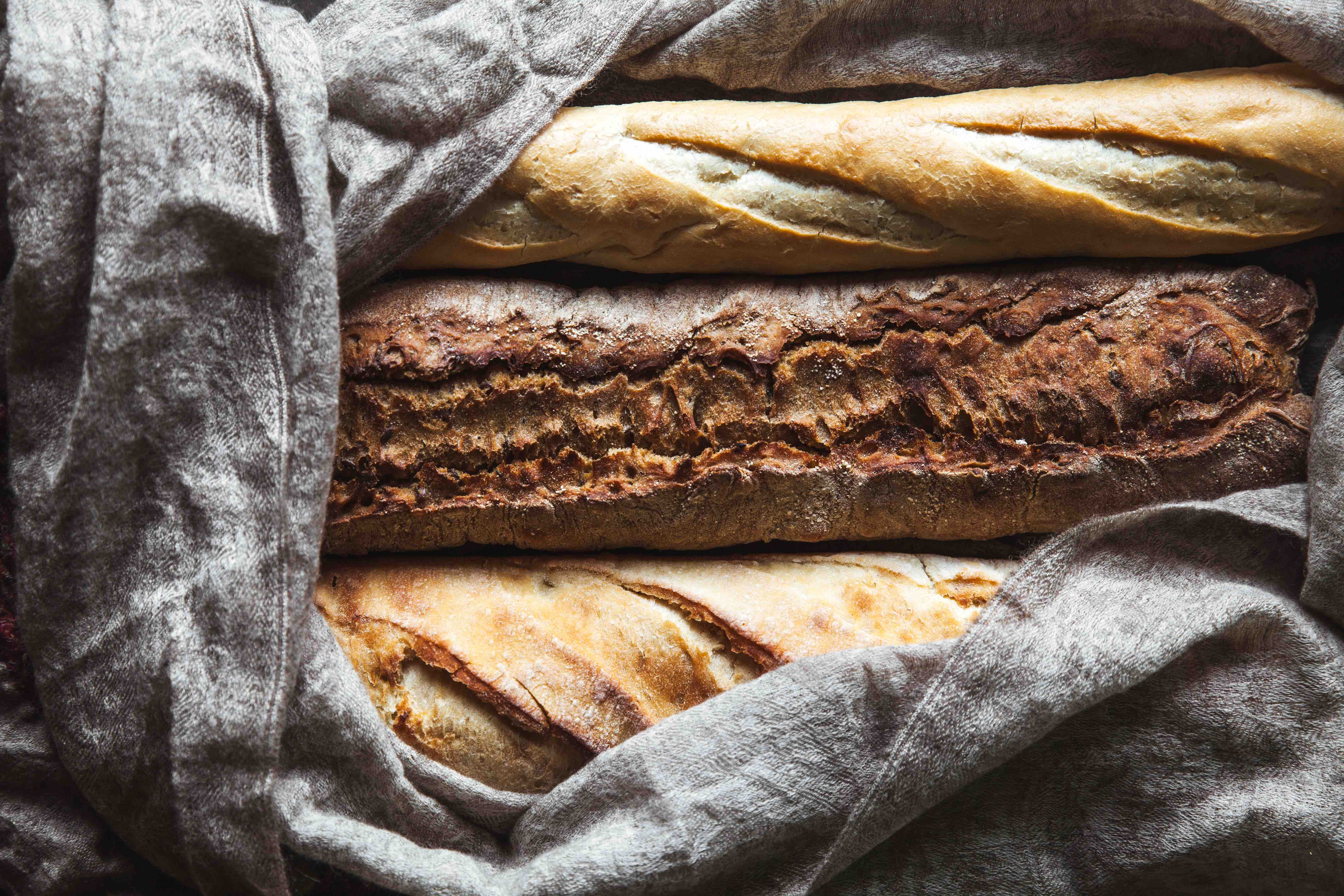 baguettes in a blanket keeping warm for delivery