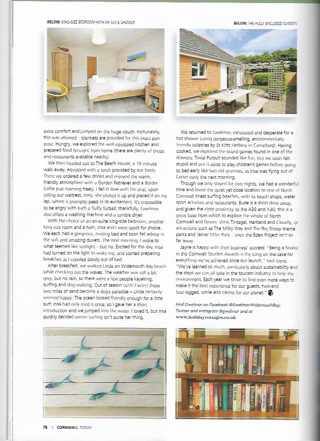 Gwelmor holiday home in Widemouth Bay as featured in Cornwall Today