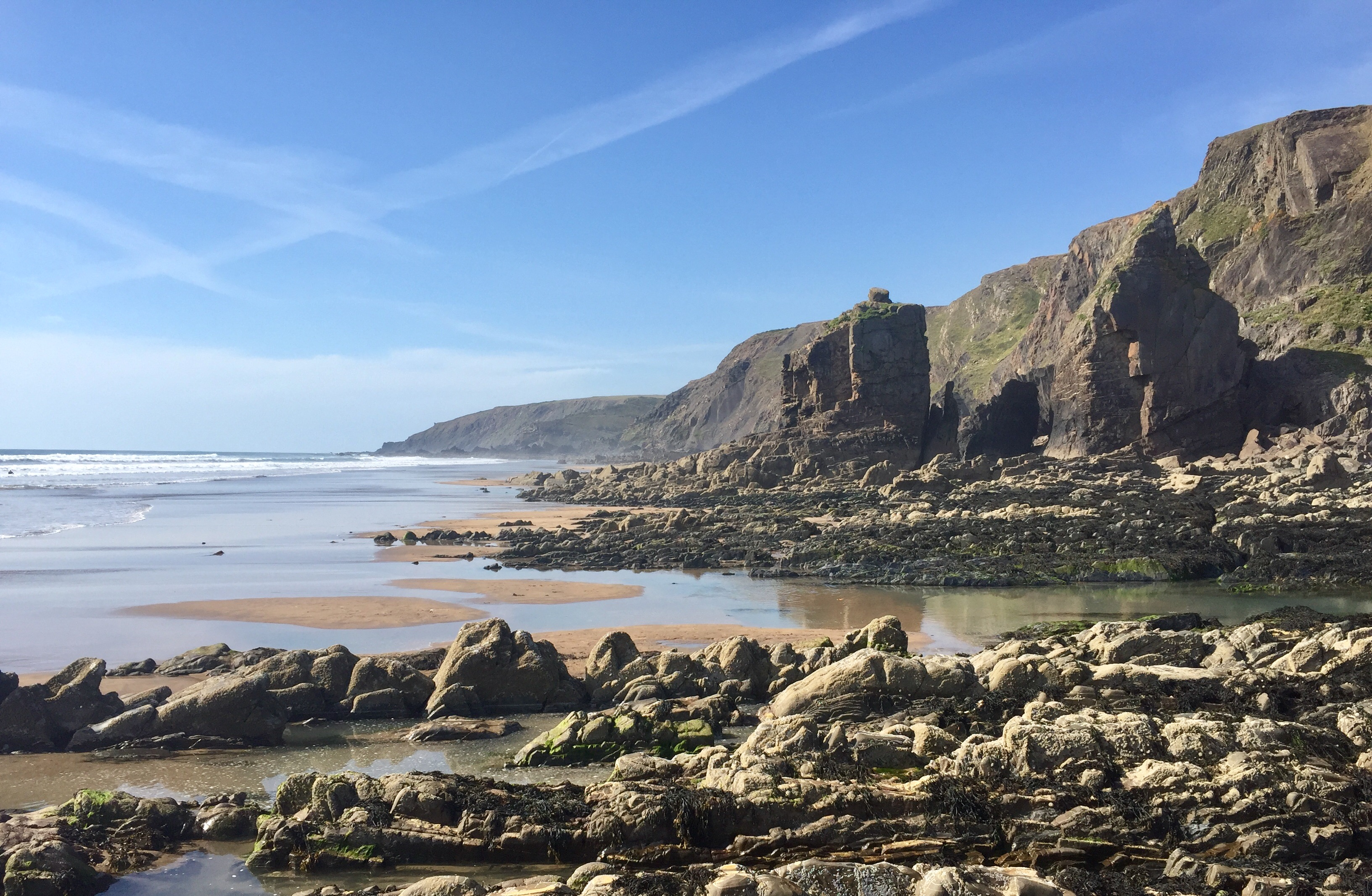 Sandymouth beach is one of our favourite dog-friendly beaches near us at Gwelmor self catering holiday home in north Cornwall