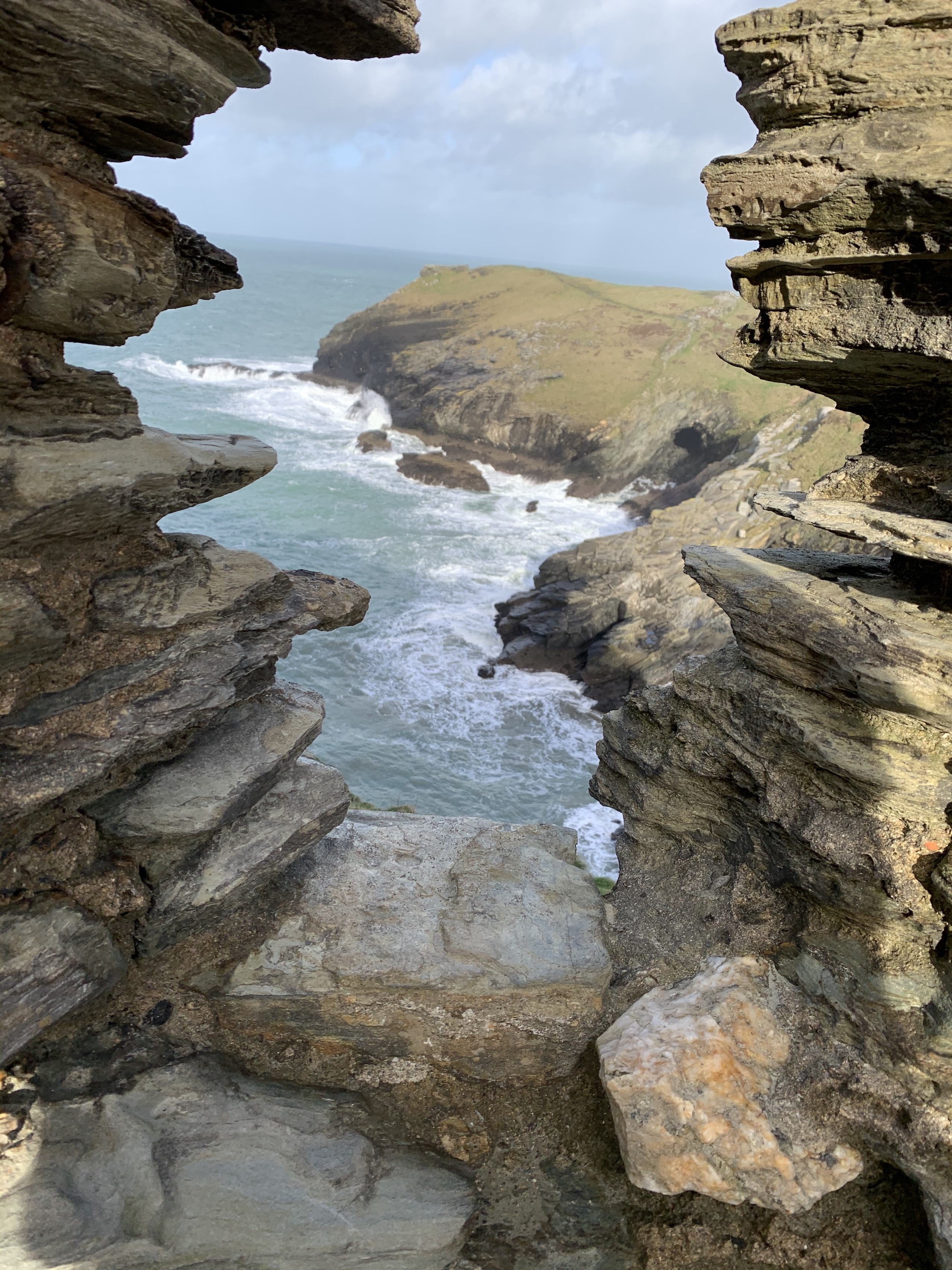 Looking out to sea from Tintagel Castle on The South West Coast Path walk from Boscastle to Tintagel
