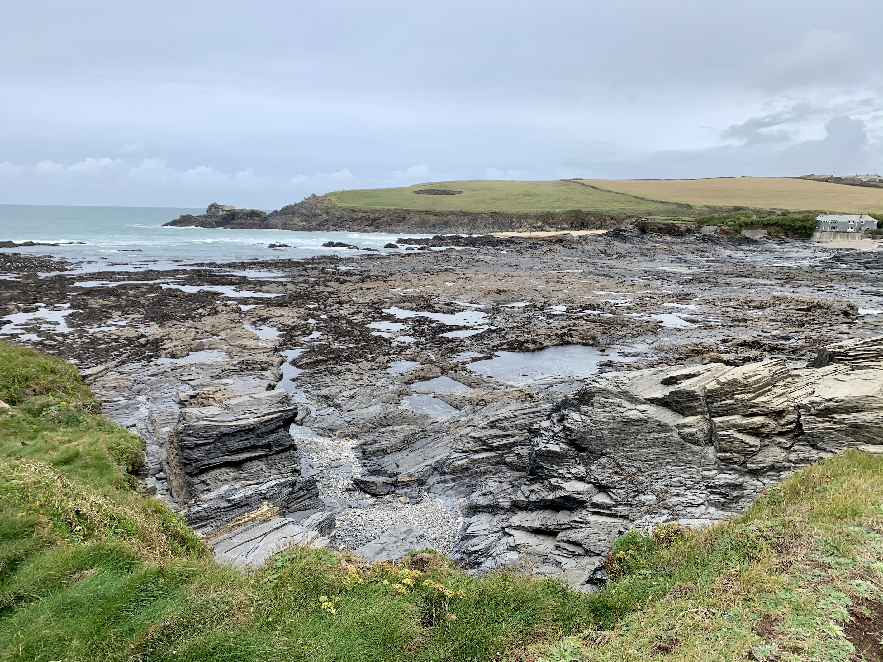 Rock formations near Trevone Bay whilst walking The South West Coast path from Padstow to Porthcothan