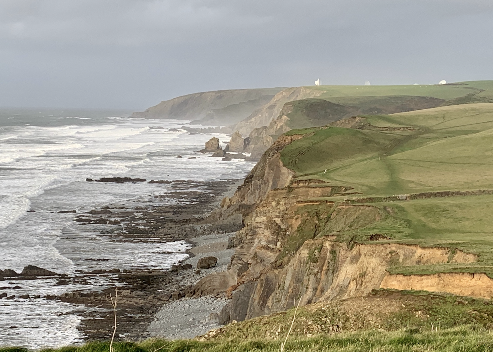 GCHQ dishes in the distance between Morwenstow and Bude on the South West Coast Path