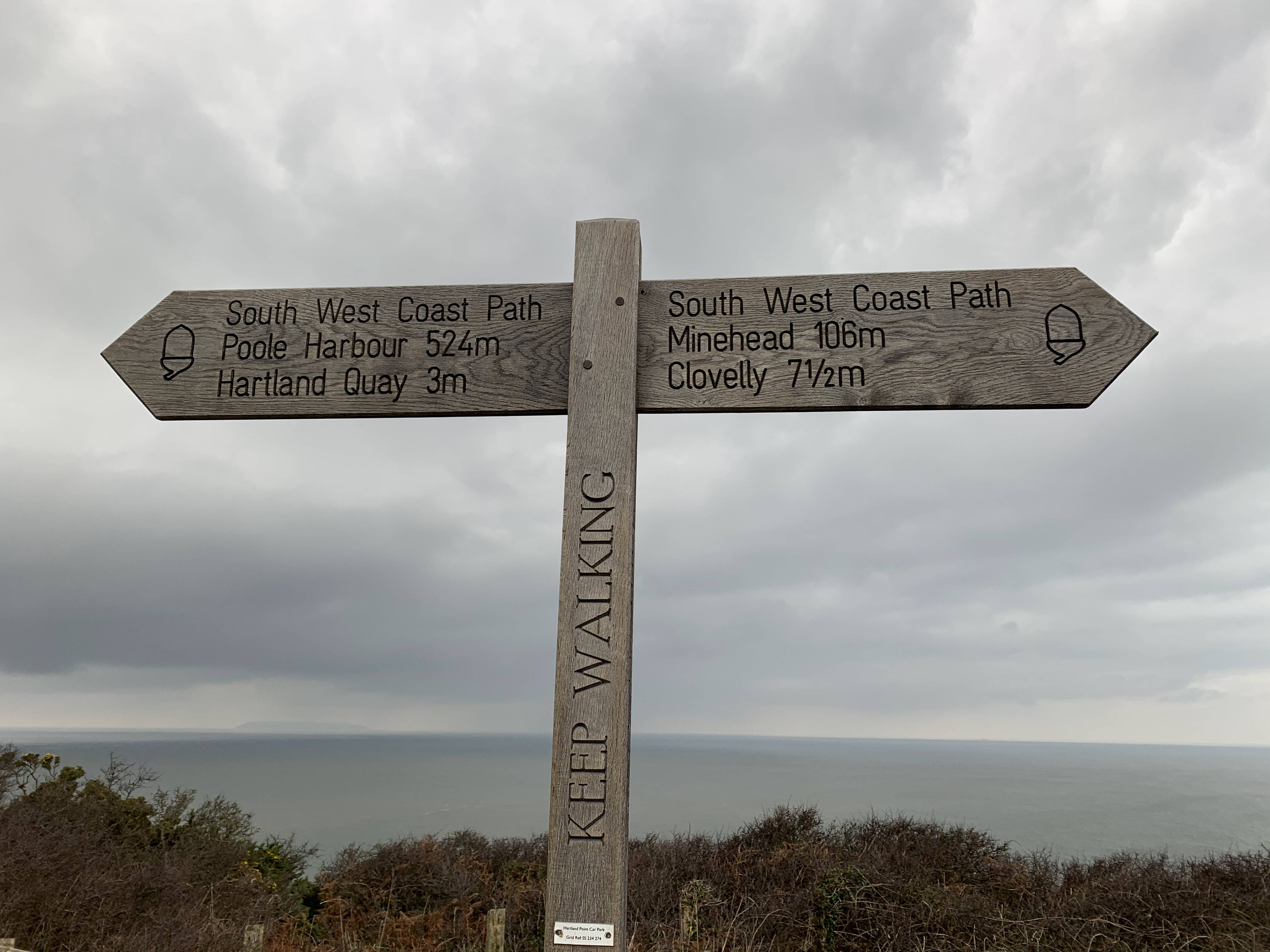Signposting along on The South West Coast Path from Clovelly to Hartland Quay