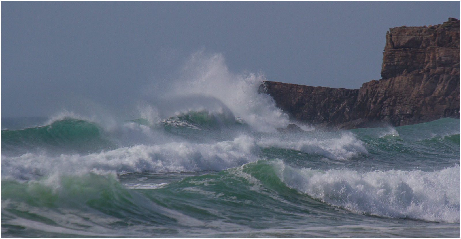 Choppy seas are captured on film by an amateur photographer whilst on holiday at Gwelmor self-catering holiday cottage in Widemouth Bay, North Cornwall