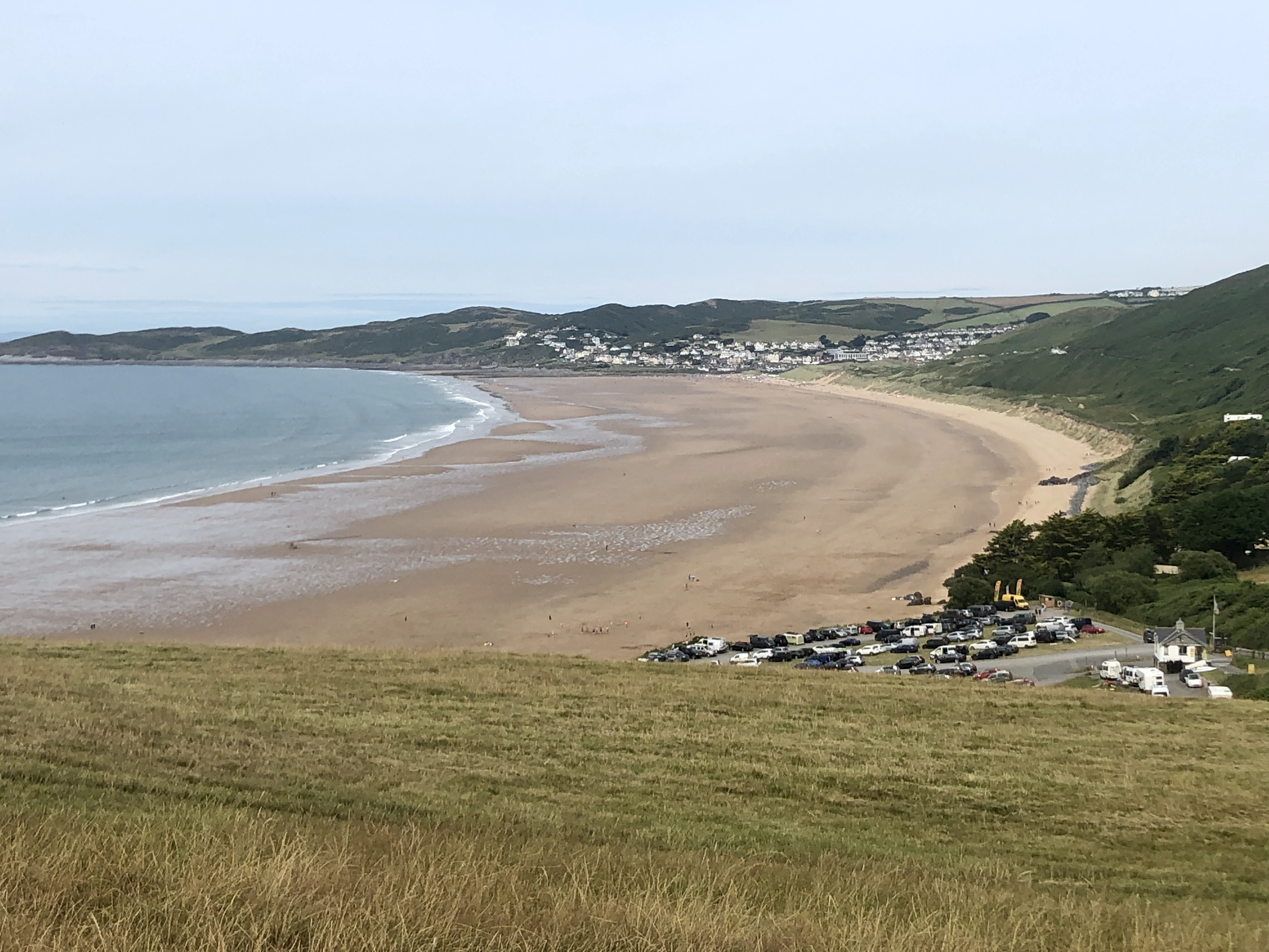 Looking back on Woolacombe beach on The South West Coast Path walk to Saunton