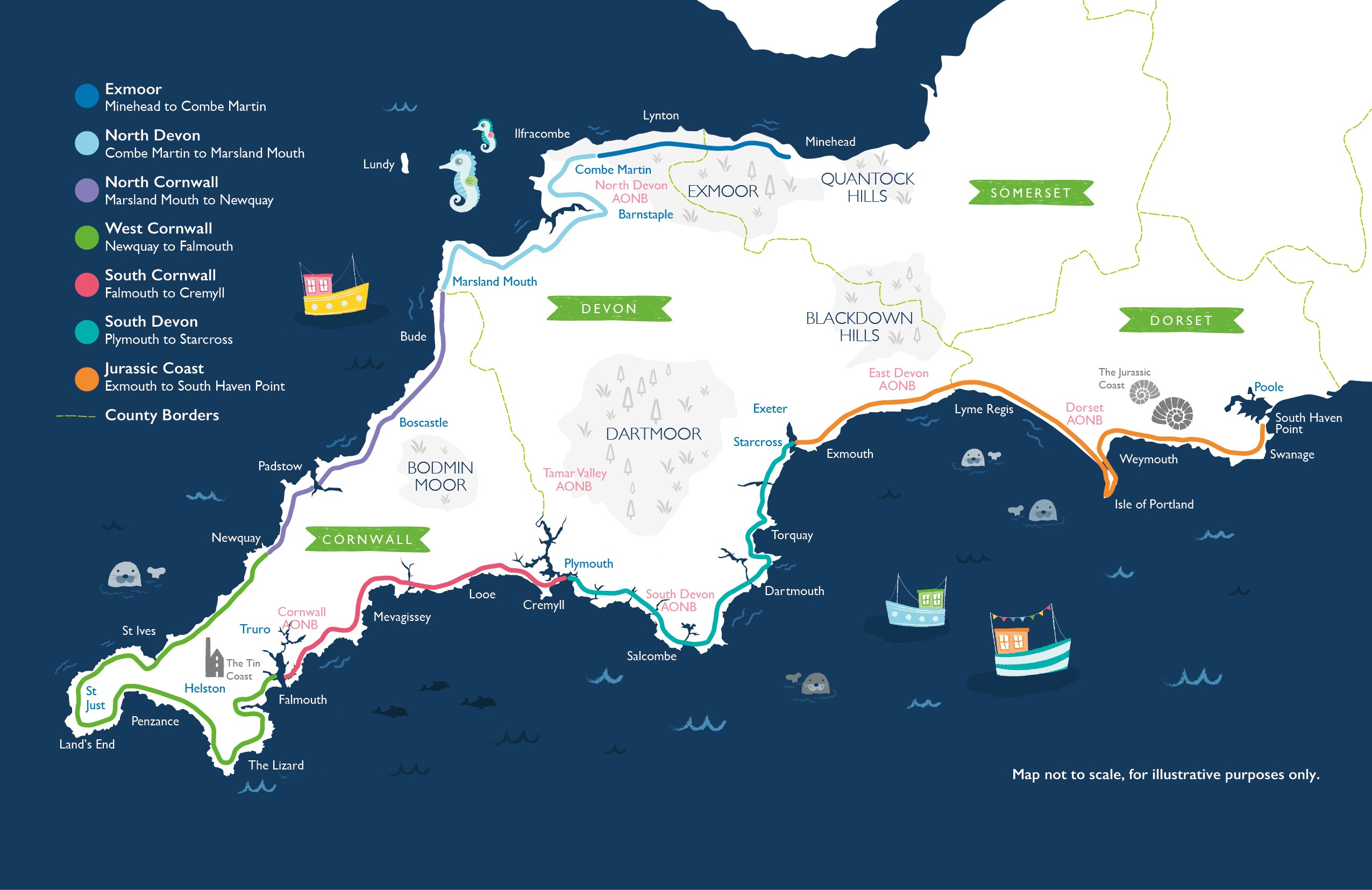 Map of The South West Coast Path from Minehead to Poole.