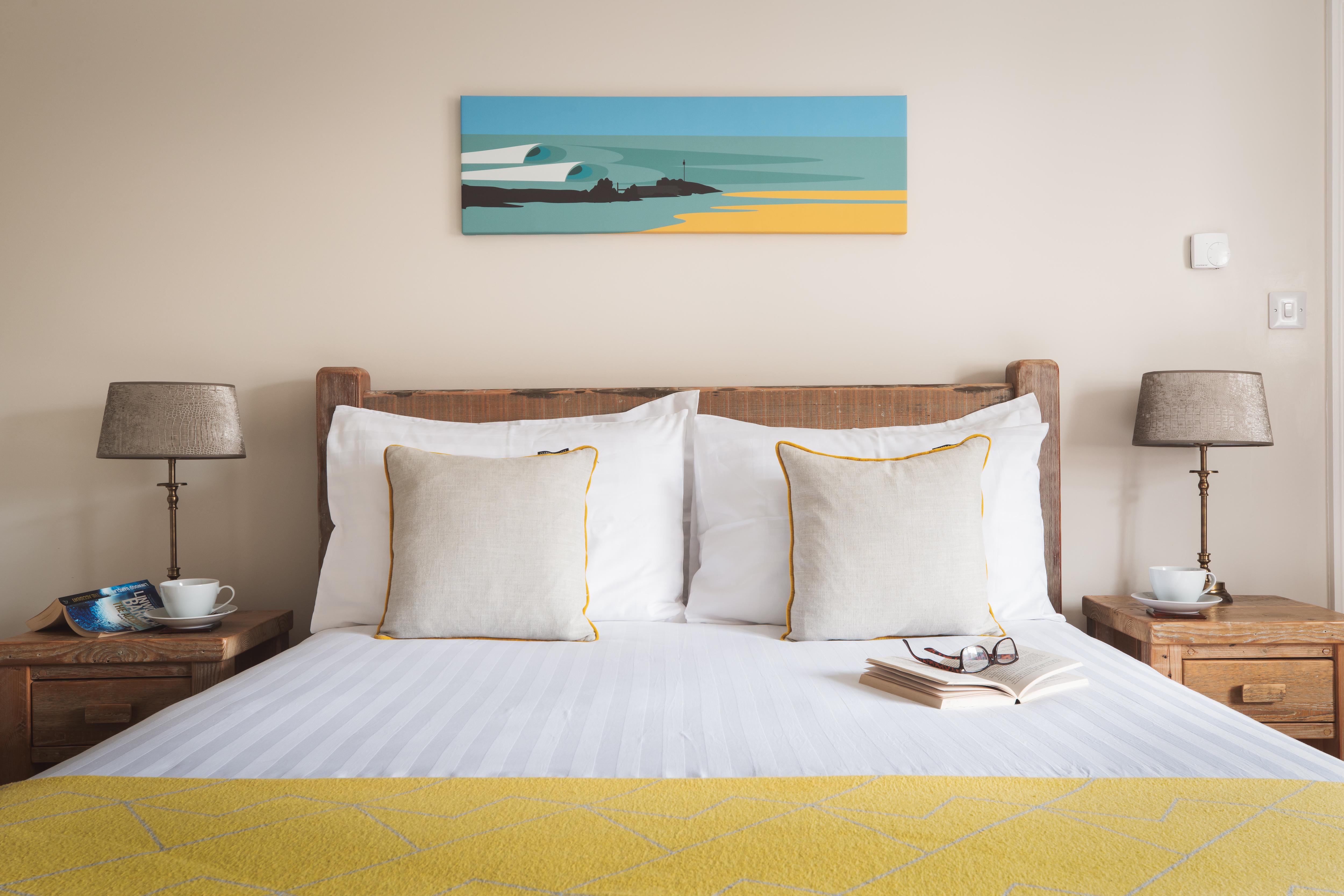 King size en-suite bedroom at award winning Gwelmor in Widemouth Bay