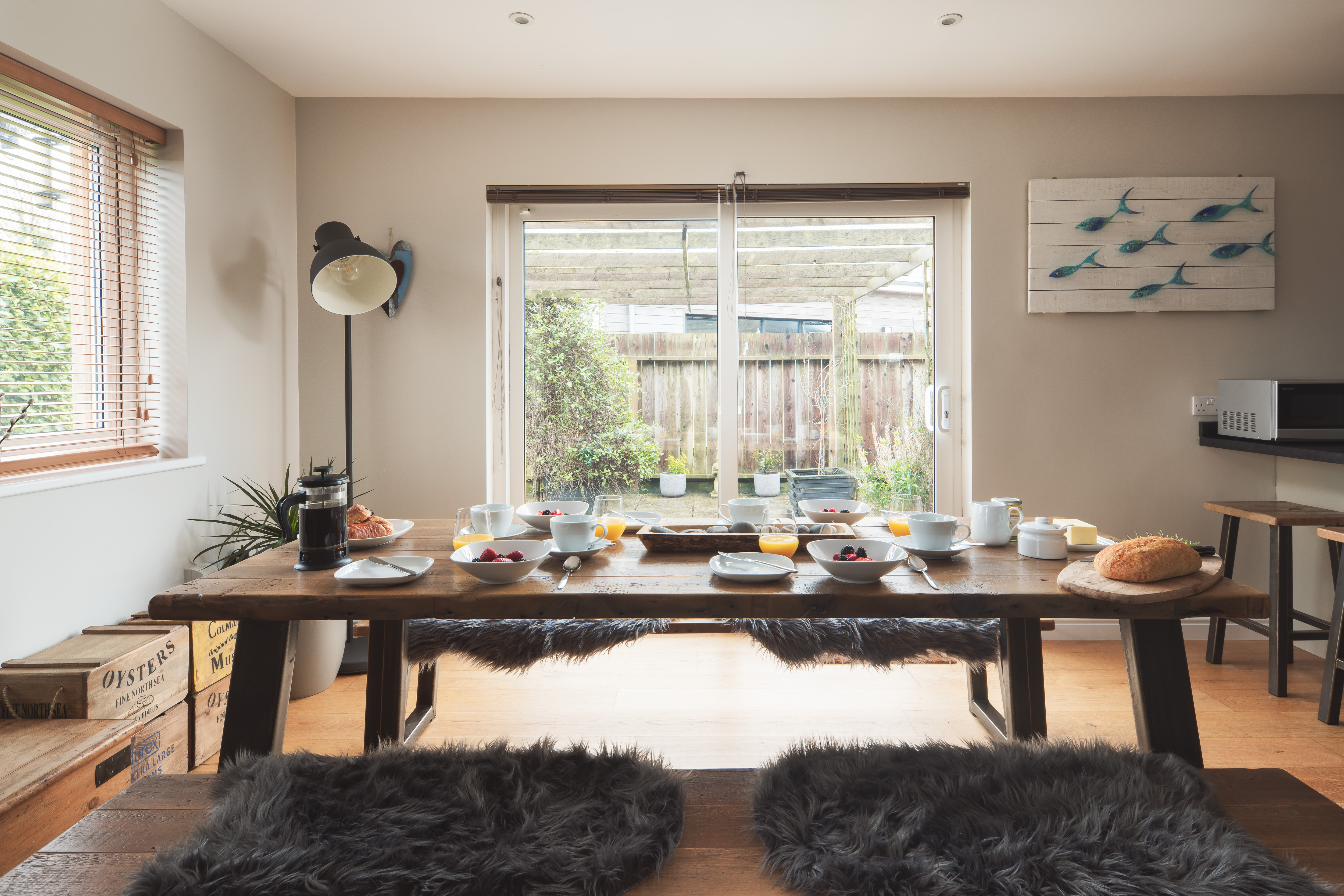 Spacious lounge/kitchen/diner at Gwelmor dog-friendly holiday home in Cornwall