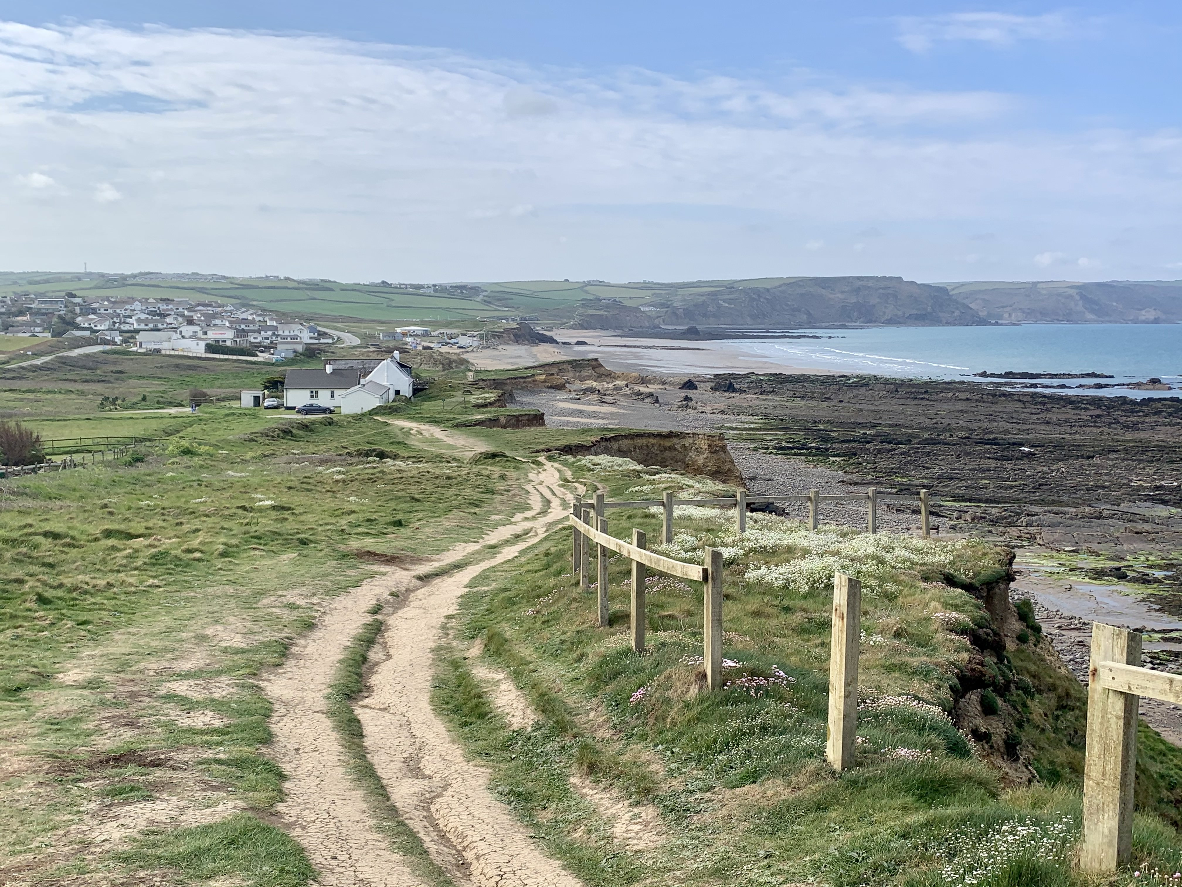 View back over Widemouth Bay from The South West Coast Path