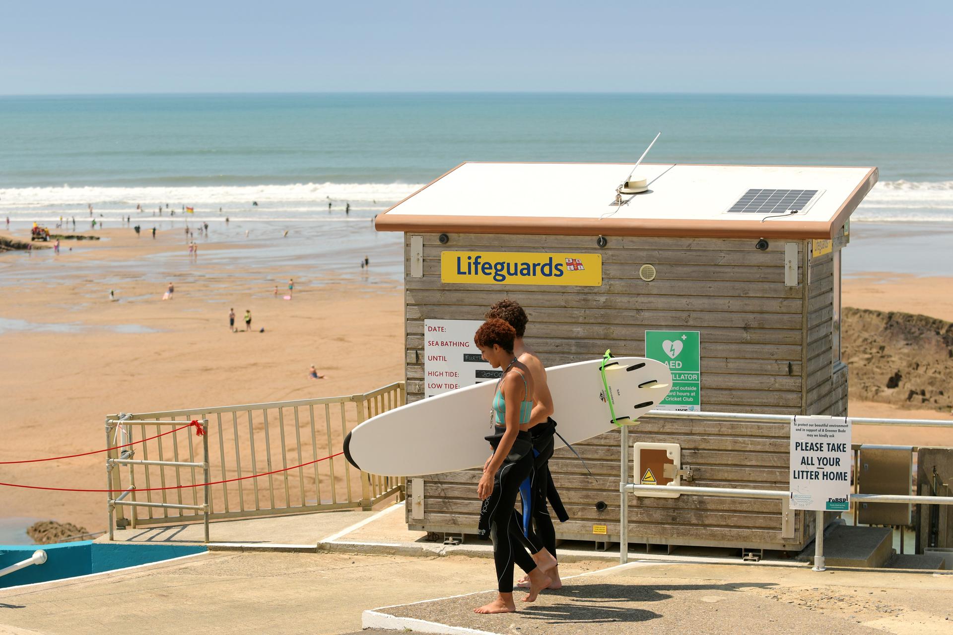 Lifeguards on duty at Summerleaze beach